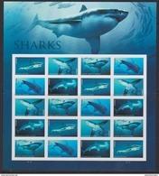 USA , 2017, MNH, SHARKS, SHEETLET OF 20v - Fishes