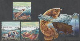 MALAYSIA ,2018, MNH, ORNAMENTAL FISH, FISH, AROWANA, 3v+ FISH-SHAPED S/SHEET - Fishes