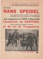 """MARSEILLE : Assassinat De L. BARTHOU - Tract Du Journal """"l'Humanité"""" Sur Les Commanditaires De Cet Attentat. 4p. - Documents Historiques"""