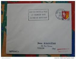 Flamme Bordeaux Nuit De L'hotel De Ville 1965 - Dpt 33 Gironde - Flamme Sur Lettre Postmark On Cover - Oblitérations Mécaniques (flammes)