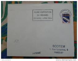 Flamme Rennes RP Foire Expo 1964 - Dpt 35 Ille Et Vilaine - Flamme Sur Lettre Postmark On Cover - Oblitérations Mécaniques (flammes)