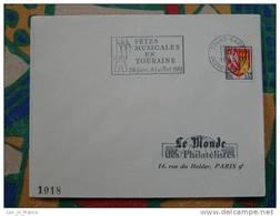 Flamme Tours Gare Fêtes Musicales 1965 - Dpt 37 Indre Et Loire - Flamme Sur Lettre Postmark On Cover - Oblitérations Mécaniques (flammes)