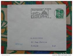 Flamme Mayenne Ville étape Mont St Michel - Dpt 53 Mayenne - Flamme Sur Lettre Postmark On Cover - Mechanical Postmarks (Advertisement)