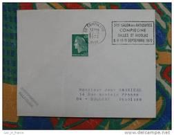 Flamme Compiègne Salon Antiquités Salle Saint Nicolas 1972 - Dpt 60 Oise - Flamme Sur Lettre Postmark On Cover - Oblitérations Mécaniques (flammes)