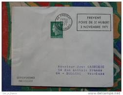 Flamme Frevent Foire St Hubert 1971 - Dpt 62 Pas De Calais - Flamme Sur Lettre Postmark On Cover - Marcophilie (Lettres)