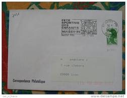 Flamme Massy Fête Sportive Des Enfants 1985 - Dpt 91 Essonne - Flamme Sur Lettre Postmark On Cover - Marcophilie (Lettres)