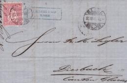 1867 Brief Von Basel Nach Diesbach. Zu: 38 / Mi. 30 ( EHINGER U. CIE BASLE - Lettres & Documents