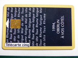 """Télécarte 5 Unités GN 14 """"Oberlin Voeux 1994"""" 01/94 - GEM1A - TBE - 5 Unidades"""