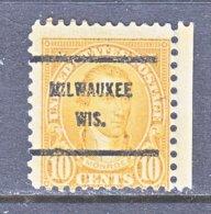 U.S. 642   Perf. 11 X 10 1/2    (o)  WIS.    1927  Issue - Precancels