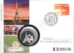 Frankreich Numisbrief Fußball-EM 2008 Mit Silbermedaille 40mm Ag500 PP - Sonstige