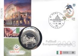 Italien Numisbrief Fußball-EM 2008 Mit Silbermedaille 40mm Ag500 PP - 1946-…: Republik