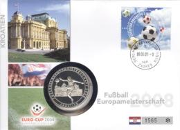 Kroatien Numisbrief Fußball-EM 2008 Mit Silbermedaille 40mm Ag500 PP - Kroatien