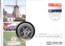 Niederlande Numisbrief Fußball-EM 2008 Mit Silbermedaille 40mm Ag500 PP - Other