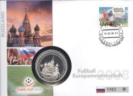 Russland Numisbrief Fußball-EM 2008 Mit Silbermedaille 40mm Ag500 PP - Russland