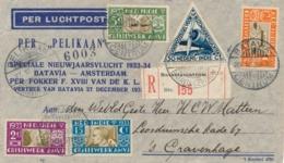 Nederlands Indië - 1933 - AMVJ-serie Op R-Pelikaanbrief Van Batavia Naar Den Haag - Inhoud: Groen Reklame Leaflet - Nederlands-Indië