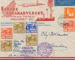 Nederlands Indië - 1937 - 7 Zegels Op Speciale Tarakanvlucht Envelop Van Batavia Via Tarakan En Soerabaja Naar Malang - Nederlands-Indië