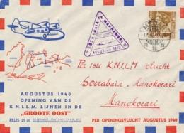Nederlands Indië - 1940 - 32,5 Cent Wilhelmina Op Openingsvlucht Soerabaja - Manokwari - Speciale Envelop - Nederlands-Indië
