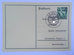 "1938 DR Postkarte Leipzig Nach Oelsnitz, FDC, Ganzsache P 267, Sonderstempel ""Zum 30. Januar"" - Briefe U. Dokumente"