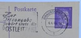 """04.04.1944 (!!!) DR Postkarte Braunschweig Nach Braunlage, Ganzsache P 312/08, Freistempel """"Ortsangabe Postleitzahl"""""""" - Briefe U. Dokumente"""