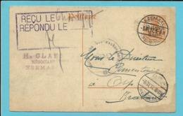 Entier Met Duitse Brugstempel EZEMAAL Naar ORP, Stempel Uberwachunsstelle / TIENEN - WW I