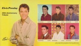 2017 Ghana Elvis Souvenir Sheet  MNH  @ BELOW Face Value  **SMALL WRINKLE Bottom Right *** - Ghana (1957-...)