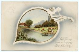 WISHING YOU A HAPPY BIRTHDAY / ADDRESS - SUNDERLAND, BELLE VUE PARK, MOWBRY SCHOOL / POSTMARK - STOCKPORT - Birthday