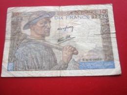 """1942 Monnaie Billets De Banque Bank Billet France Anciens Francs Circulés Au XXème 10F """"Mineur''état Coupure Voir Photos - 1871-1952 Antichi Franchi Circolanti Nel XX Secolo"""