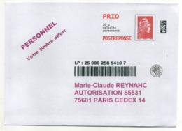 PAP REPONSE  Marianne L'Engagée Prio SUIVI--Neuf--REYNAHC M.C- (pas De N° Au Verso --pas De N°  Interne )..à  Saisir - Postal Stamped Stationery