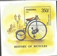 J) 1992 TANZANIA, BYCICLE, HISTORY OF BYCICLES, SOUVENIR SHEET - Tanzania (1964-...)