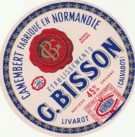 Rare étiquette De Fromage Camembert G.Bisson - Cheese