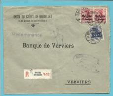 BZ 3+4 Op Brief Aangetekend Stempel BRUSSEL , Verso GEPRUFT KAISERLICHER BANKKOMMISSAR - WW I