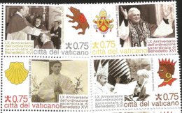 J) 1951 VATICAN CITY, LX ANNIVERSARY OF THE PRIESTLY ORDINATION OF BENEDICT XVI, SET OF 4 MNH - Vatican