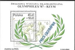 J) 1987 POLAND, WORLD PHILATELIC EXHIBITION OLYMPHILEX 87 ROME, SOUVENIR SHEET - 1944-.... Republic