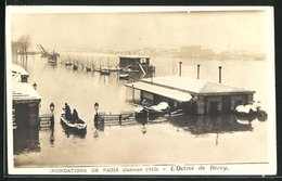 AK Paris, Inondee 1910, L'Octroi De Bercy, überschwemmte Strasse Durch Hochwasser - Floods