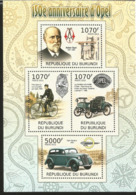 J) 2012 BURUNDI, BYCICLES, 150TH ANNIVERSARY OF OPEL CICLISM, CAR, SOUVENIR SHEET - Burundi