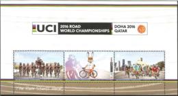 J) 2016 QATAR, BYCICLE, CICLISM, THE RACE STARTS HERE, SOUVENIR SHEET - Qatar