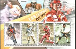 J) 2012 BURUNDI, FUTBALL, BASEBALL, CICLISM, TENIS, SOUVENIR SHEET, MNH - Burundi