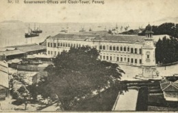 Malay Malaysia, PENANG, Government-Offices And Clock Tower (1910s) Postcard - Malaysia