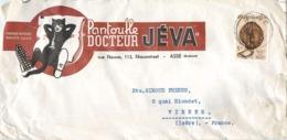 """ASSE 112 RUE NEUVE PUBLICITE """" PANTOUFLE JEVA """" LETTRE BELGIQUE CHAT - Asse"""