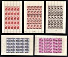 MONACO 1945 / 1946 SERIE 5 FEUILLES DE 30 PA / N° 8 A 12 - NEUFS** - Poste Aérienne
