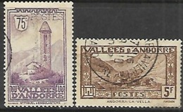 French Andorra  1932   Sc#44   75c   St Miguel Tower & #61 5Fr Vallee Used  2016 Scott Value $9.55 - Usados