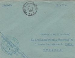 LETTRE FM - OFFICIER ETAT CIVIL - SP 77212 - 3e BATAILLON DU 4e R.T.T - POUR DIRECTEUR L A.C.A.T - TUNIS 13/6/50 - Marcophilie (Lettres)