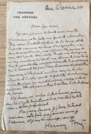LETTRE AUTOGRAPHE HENRY TORRES POLITIQUE DEPUTE 1934 (suite Attentat Contre Alexandre 1er De Yougoslavie) - Autographs