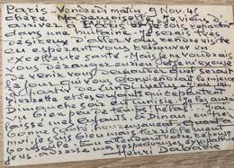 HENRI DABADIE PEINTRE AUTOGRAPHE PARIS 9 NOV. 1945 CPA - Autographes