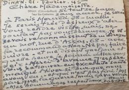 HENRI DABADIE PEINTRE AUTOGRAPHE DINAN 21 FEVRIER 1945 CPSM - Autographes