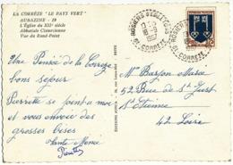 CORREZE CP 1967  19 - ROSIERS D'EGLETONS RECETTE DISTRIBUTION B9 AVEC N° DPT DUREE MOINS DE 2 ANS 912 HABITANTS EN 1968 - Poststempel (Briefe)