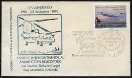 AANT-224 ARGENTINA 1990 ANTARCTICA ANTARCTIQUE 10°ANIV HELICOPTER INTERCONTINENTAL FLIGHT COVER - Basi Scientifiche