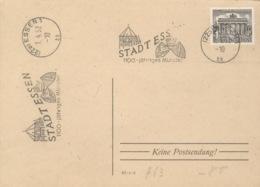 Berlin 42 Auf Unterlage Werbestempel Essen 1952 - Lettres & Documents