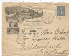 N°132 LETTRE ENTETE GRAND ETABLISSEMENTS HYDROTHERAPIQUE DIVONNE LES BAINS AIN 1907 TO ENGLAND - Marcophilie (Lettres)