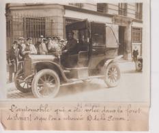 AUTOMOBILE VOLÉE FORET SENART RETROUVÉE RUE DE LA PERRON 18*13CM Maurice-Louis BRANGER PARÍS (1874-1950) - Coches